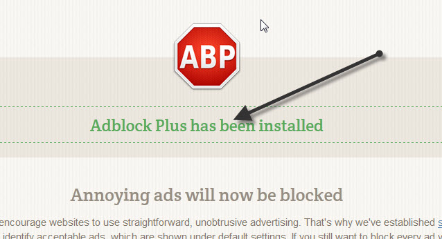 Click on install button on the right corner and the adblock plus plugin will be installed immediately