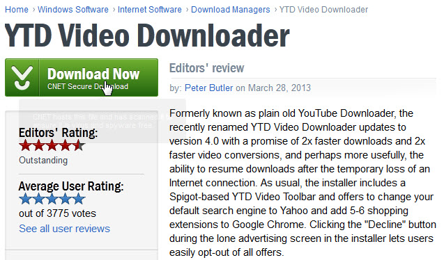 YTD Video Downloader review