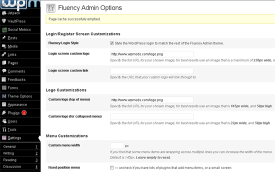 fluency admin options