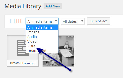 Add PDF Media Type Filters to WordPress Media Manager